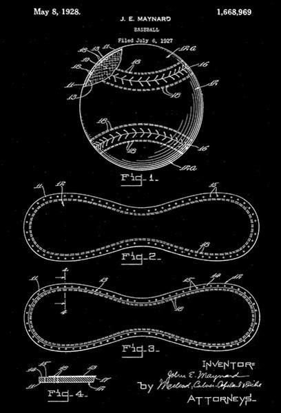 1928 Baseball Base Ball Patent Black /& White Poster