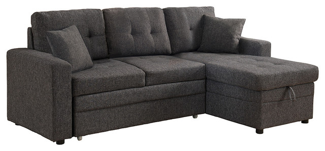 Cayler Sectional Sofa With Storage And Pull Out Bed Gray