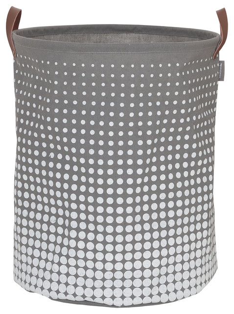 """Round Laundry Bag 16""""x20"""" Sealskin Speckles Gray Fabric."""