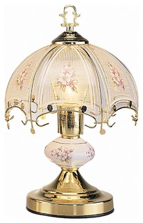14 touch lamp with white glass floral theme gold victorian table lamps by lightingworld. Black Bedroom Furniture Sets. Home Design Ideas