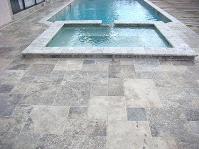 Silver Travertine Versailles Pattern Outdoor contemporary-wall-and-floor- tile