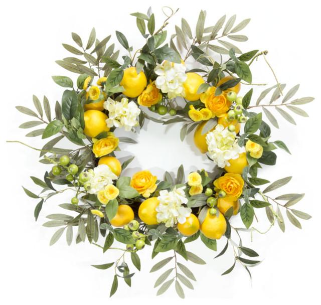 """Lemon/Floral Wreath, 22"""""""