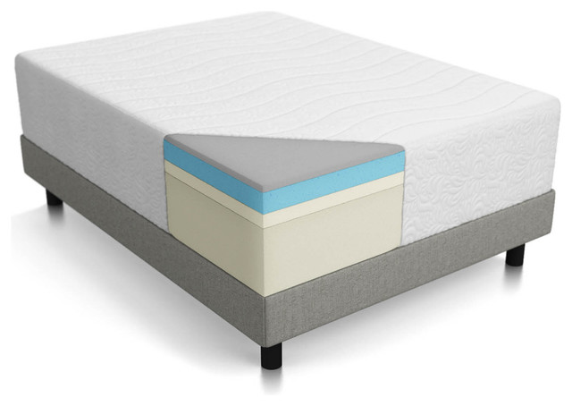 "Lucid 16"" Plush Memory Foam And Latex Mattress Four Layer"