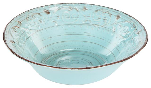 Rustic Fare Serving Bowl 10x3 Aqua Blue Farmhouse