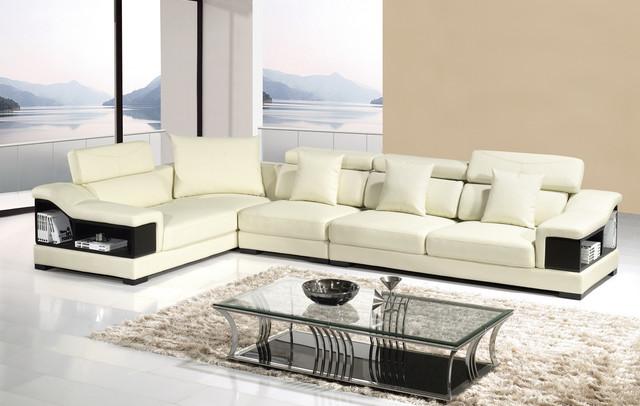 Ivory Storage Leather Sectional Sofa Set Adjustable Headrest Bookcase