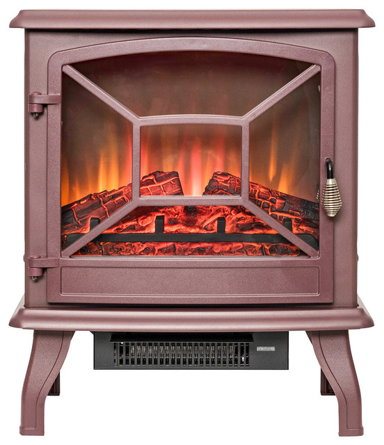 "Golden Vantage 20"" Freestanding Portable Electric Fireplace Heater, Brown."