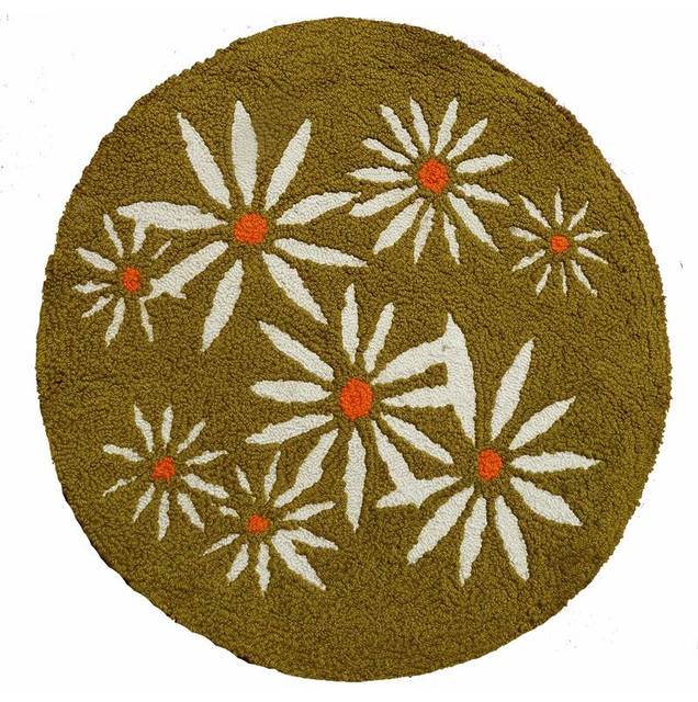 Lovely Mid Century Modern Circular Rug With Daisy Motif   $650 Est. Retail   $400