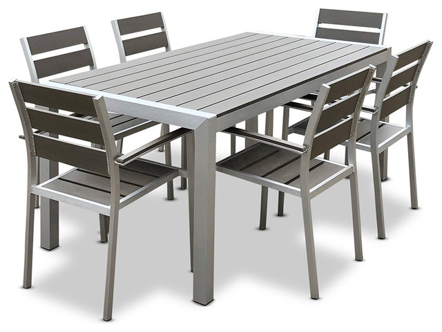 Medici 7 Pc Aluminum Modern Outdoor Patio Furniture Dining Table And Chairl Set
