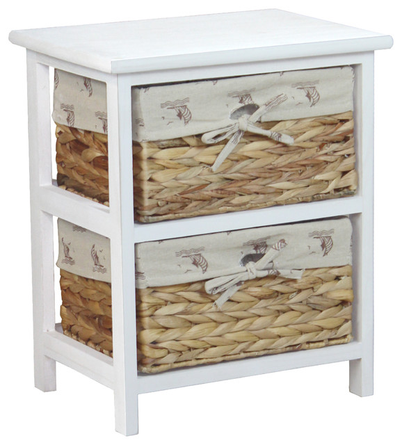 Nightstand Cabinet Chest with 2 Basket Drawer - Beach Style ...