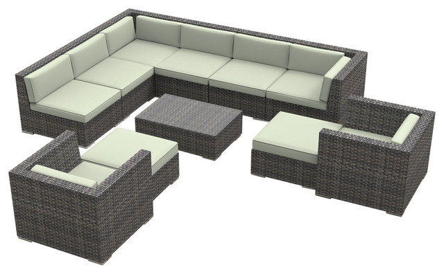 Beau Aruba Outdoor Patio Furniture Sofa Sectional, 11 Piece Set, Beige