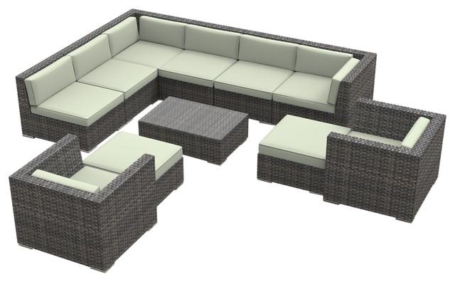 Aruba Outdoor Patio Furniture Sofa Sectional, 11 Piece Set, Beige Tropical  Outdoor
