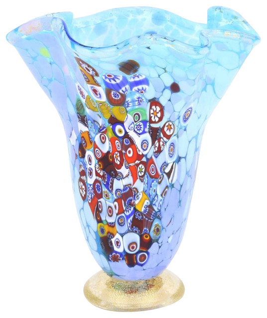 Murano Millefiori Art Glass Fazzoletto Vase