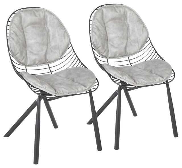 Wired Chair, Black Metal with Light Gray Faux Leather Cushions, Set of 2