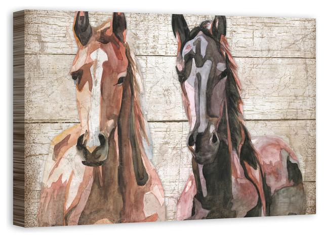"""watercolor Colts"" Canvas Wall Art, 36x24."