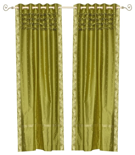 Lined-Olive Green Hand Crafted Grommet Top Sheer Sari Curtain Drape Panel.