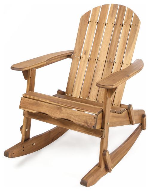 Gdf Studio Vivian Outdoor Acacia Wood Adirondack Rocking Chair Transitional Adirondack Chairs By Gdfstudio