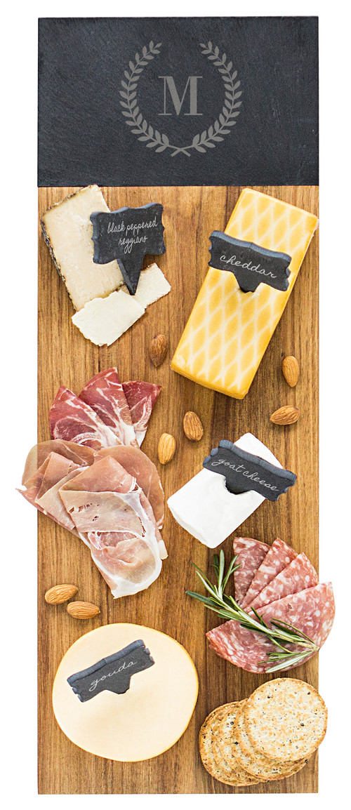 Personalized Acacia & Slate Charcuterie Serving Board with Slate Markers, M