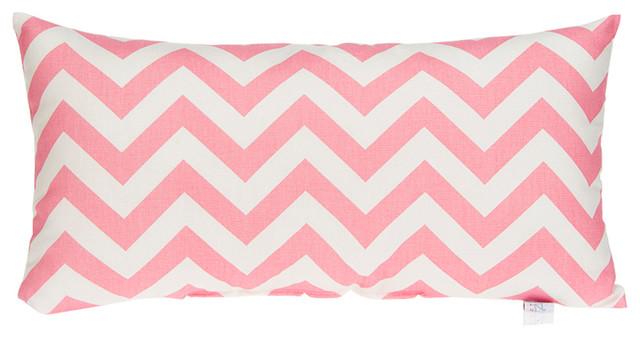 Modern Rectangle Pillow : Swizzle Pink Chevron Rectangle Pillow - Contemporary - Decorative Pillows - by Glenna Jean