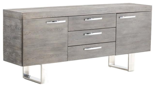 Harper Modern 3-Drawer Buffet, Gray And Chrome