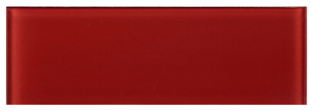 "4""x12"" Ruby Red Glass Subway Tile, Set Of 3."