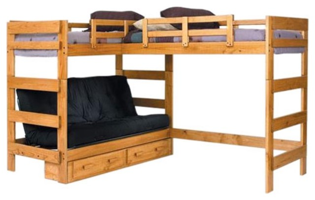 woodcrest heartland futon bunk bed with extra loft bed - modern
