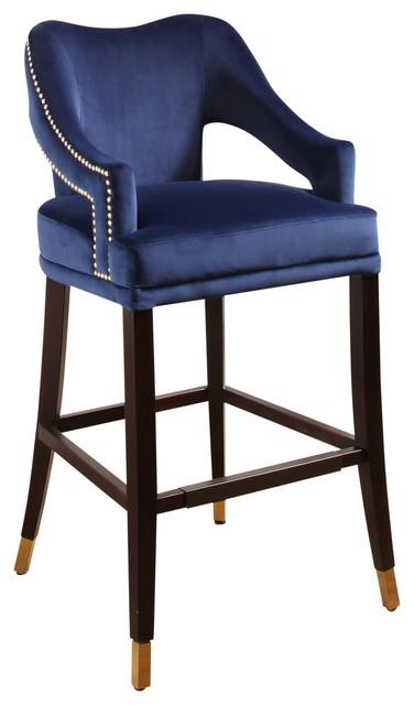 Brilliant Abbyson Living Petunia Curved Back Velvet Bar Stool Blue Alphanode Cool Chair Designs And Ideas Alphanodeonline