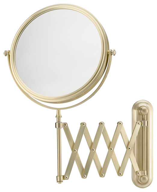 Extension Arm Wall Mirror With 5x And 1x Magnification, Brushed Brass.