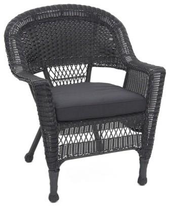 Incroyable Jeco W00207, C, Fs017 Black Wicker Chair With Black Cushion