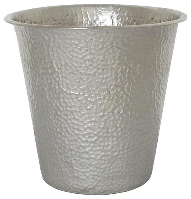 Waste Basket, Antique Copper, Brushed Nickel.