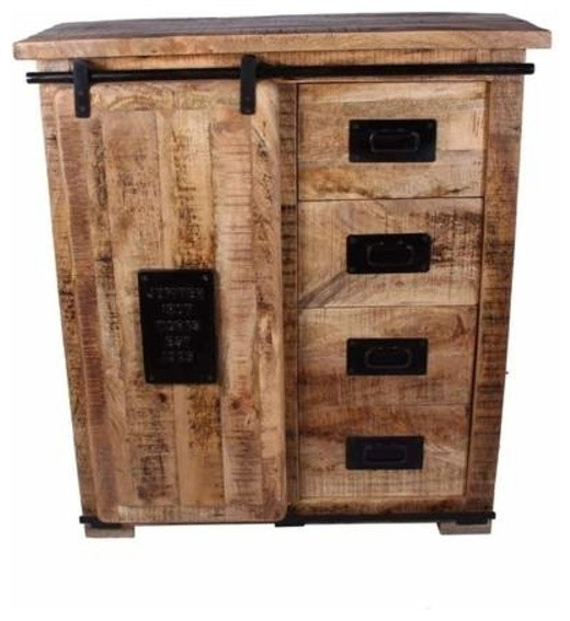 Classic Solid Mango Wood Cabinet With Sliding Door U0026 4 Drawers