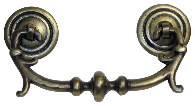 Three-Piece Round Bail With Rosettes And Fancy Pull - Traditional - Cabinet And Drawer Handle ...