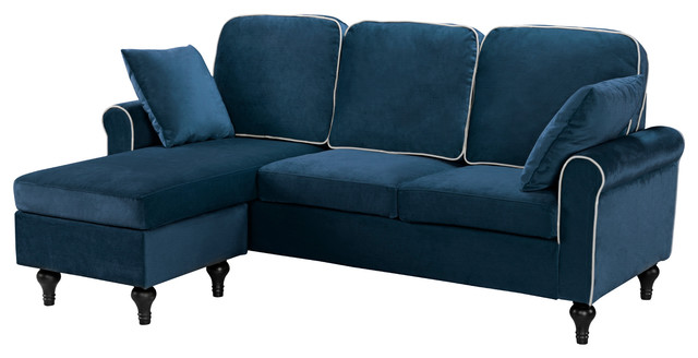 Awesome Traditional Small Space Velvet Sectional Sofa With Reversible Chaise Blue Download Free Architecture Designs Scobabritishbridgeorg