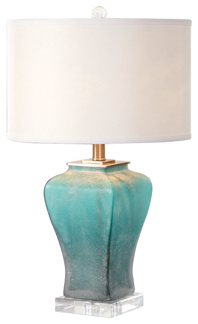 Jim Parsons Valtorta Blue-Green Glass Table Lamp With 1 Light 150w.