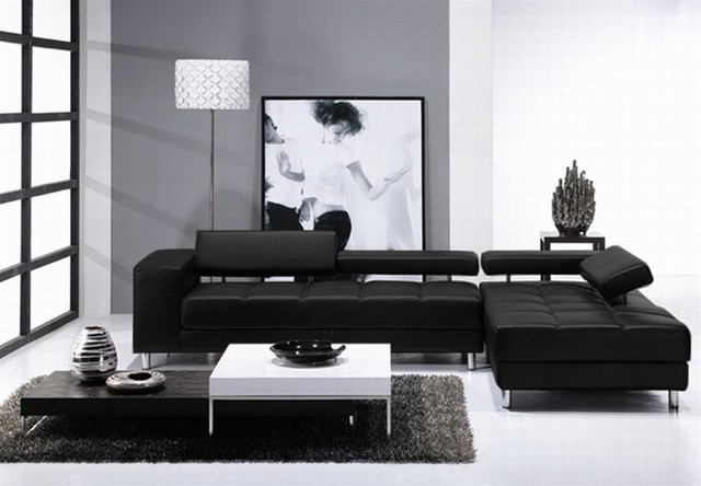 Sanata Black Leather Two Pieced Sectional Sofa With Adjule Backrests
