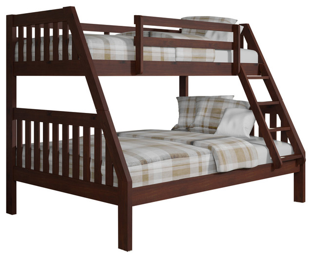 Presley Bunk Bedwith Rollout Trundle Bed, Dark Cappuccino, Twin Over Full.