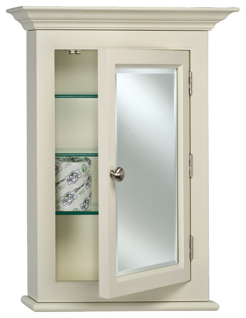 "Wilshire Ii 7"" Deep Semi Recessed Medicine Cabinet With Crown Moulding, 22""x27""."
