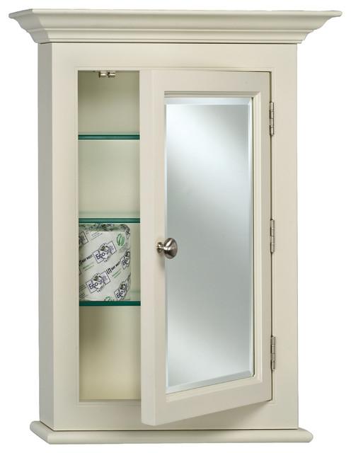 "Wilshire Ii 7"" Deep Semi Recessed Medicine Cabinet With Crown Moulding, 22""x27""."