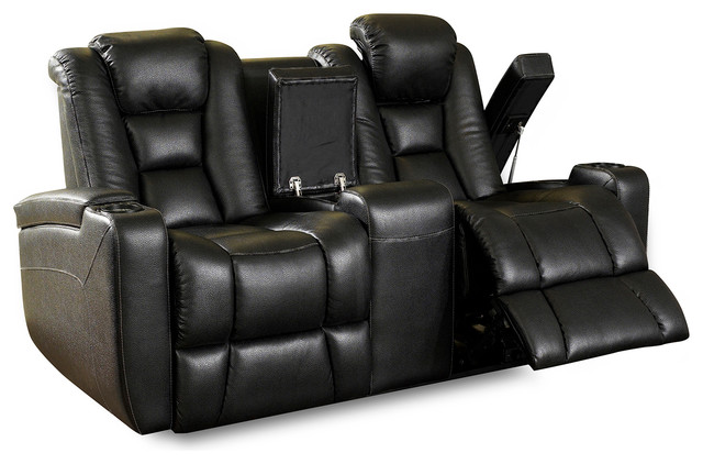 Row One Evolution Loveseat Power Recline Leatheraire Fabric, Black