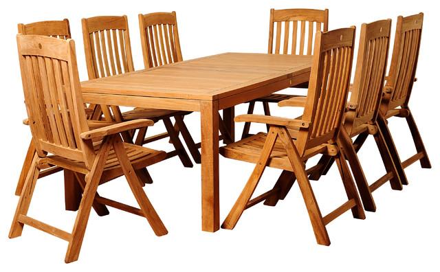 Chase 9-Piece Teak Rectangular Patio Dining Set.