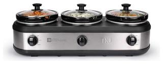 Tru Three Crock Buffet Slow Cooker Stainless Steel