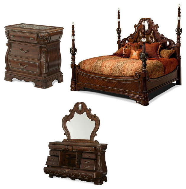 the sovereign 4 piece poster bedroom set with posts queen