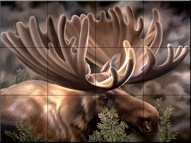Tile Mural, Moose Portrait by Laura Regan