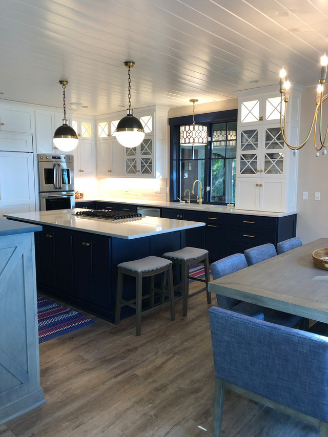 White and Navy Kitchen with Birch Drifwood Accents