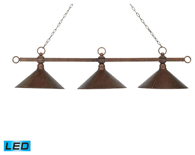 3 Light Billiard/Island, Antique Copper With Hand Hammered Iron Shades, LED