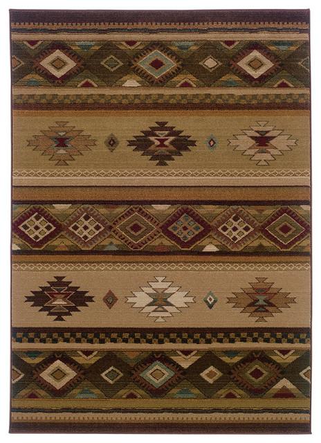 Oriental Weavers Genesis 090j1 Beige Green Southwest Lodge