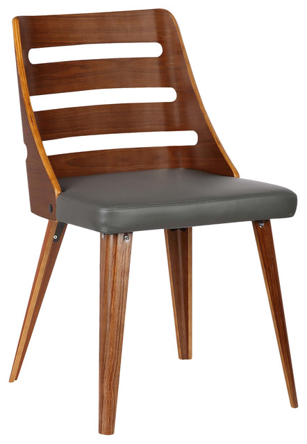 Armen Living Cassie Dining Chair In Black Faux Leather And Walnut Wood Finish Home Kitchen Chairs