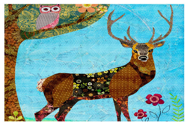 Forest Stag And Owl Area Rug, 72.5x52.5 by Dianoche Designs