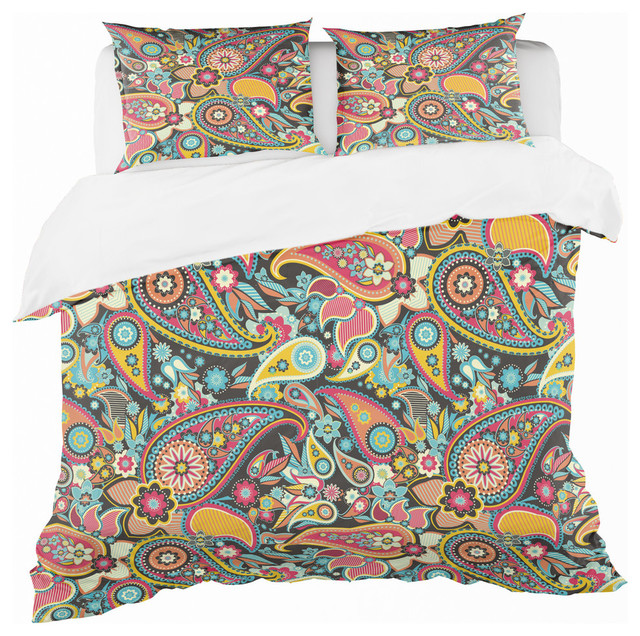 Traditional Asian Elements Paisley Bohemian And Eclectic Duvet Cover Set Mediterranean Duvet Covers And Duvet Sets By Design Art Usa