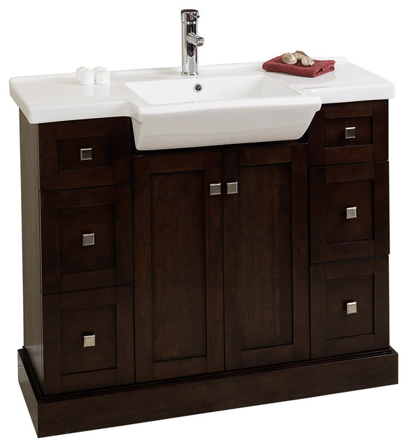 Modern Birch Wood Veneer Vanity Base Only Walnut 38 Quot X14