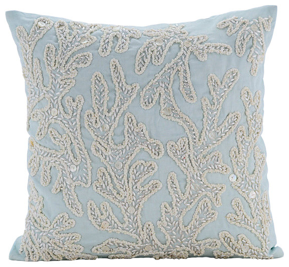 "Pearly Sea Tangle, Blue 20""x20"" Cotton Linen Pillows Covers For Couch."